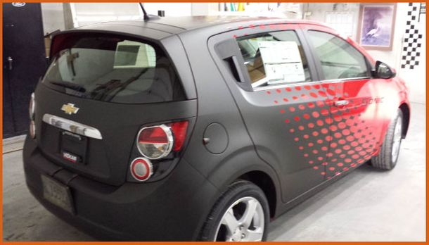 Hatchback with vehicle wrap design in Winnipeg